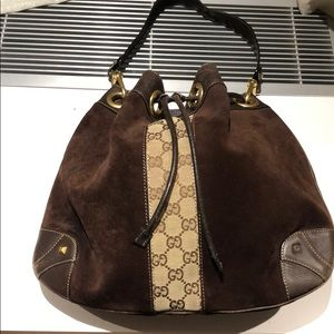 Brown suede and leather Gucci bag